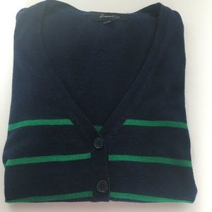Forever 21 Navy Blue Cardigan with Green Stripes S